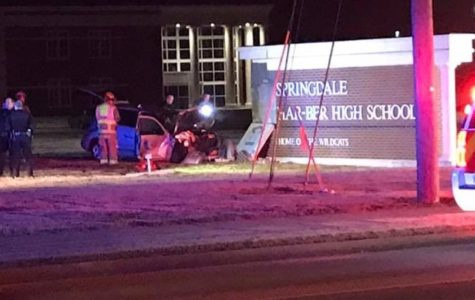 Springdale police responded to a 911 call after a woman crashed into the sign