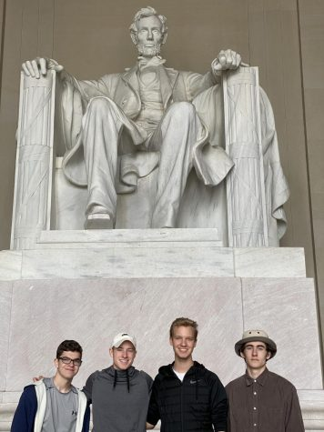 Seniors Zack Duplanti, Nick Luttrell, Zack Greenwood and Jack Williams visit the Lincoln Memorial in March 11-13 during a trip to Washington, D.C. for the Student Television Network convention. Shortly after students arrived, the convention was canceled.