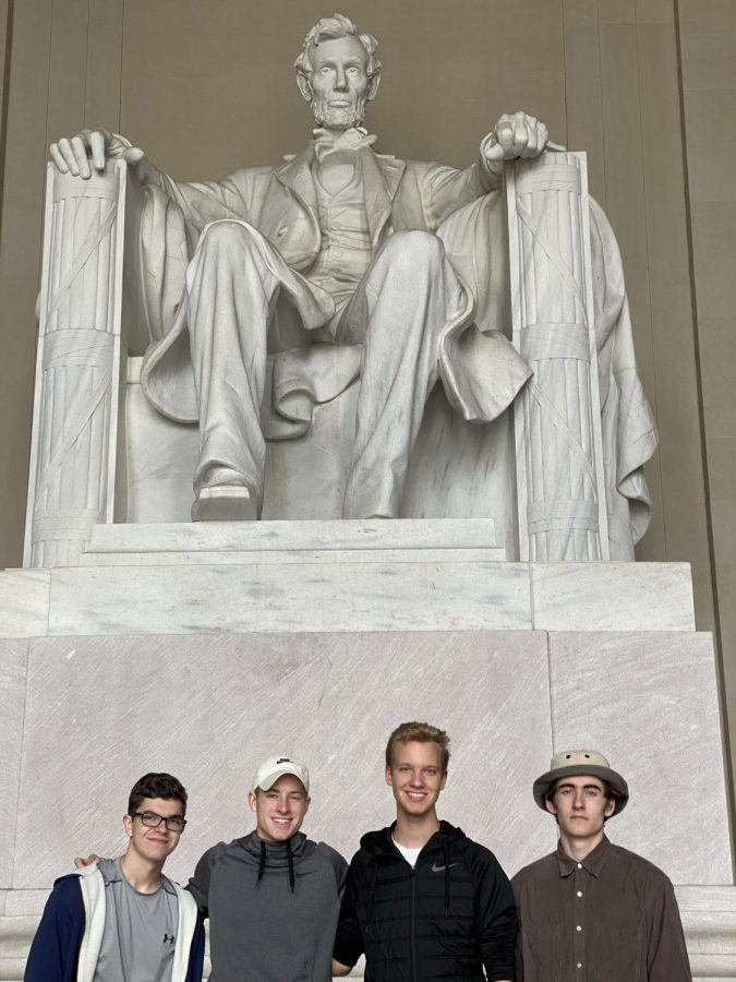 Seniors+Zack+Duplanti%2C+Nick+Luttrell%2C+Zack+Greenwood+and+Jack+Williams+visit+the+Lincoln+Memorial+in+March+11-13+during+a+trip+to+Washington%2C+D.C.+for+the+Student+Television+Network+convention.+Shortly+after+students+arrived%2C+the+convention+was+canceled.