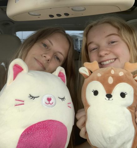 Emma Harris and Avery Troutt pose with their Squishmallow finds