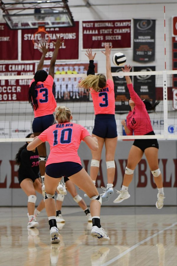 Seniors Kenleigh Hall (23) and Caylan Koons (3) block the ball against the Springdale Bulldogs on Oct. 5. The Wildcats defeated Springdale in three straight sets in the conference match.