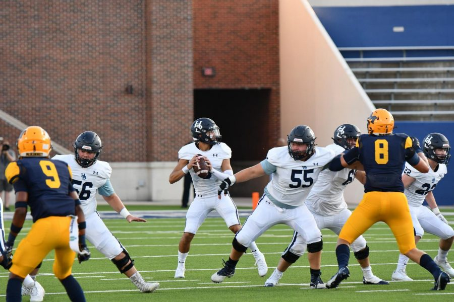 Senior center Jack Struebing (55) protects the line and the quarterback during a non-conference match-up again the McKinney (Tex.) Lions on Aug. 28.