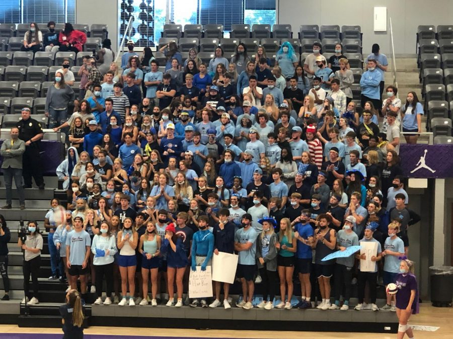Leaders of the Blue Crew rallied students for an away game against the Fayetteville Bulldogs on Sept. 23. The volleyball team defeated the conference rival 3-2 in a classic showdown.