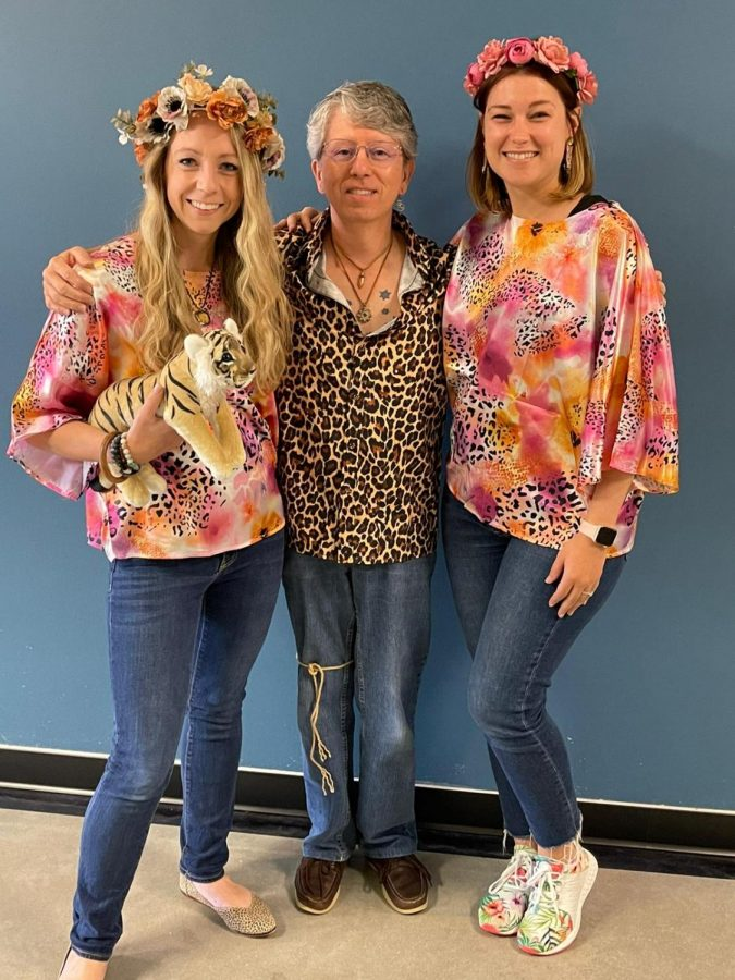 English teachers Allison Whitehouse, William Combs and RachelClaire Cockrell dress up for Tiger King Day as part of the 2021 Spirit Week.